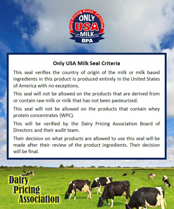 Only USA milk seal criteria